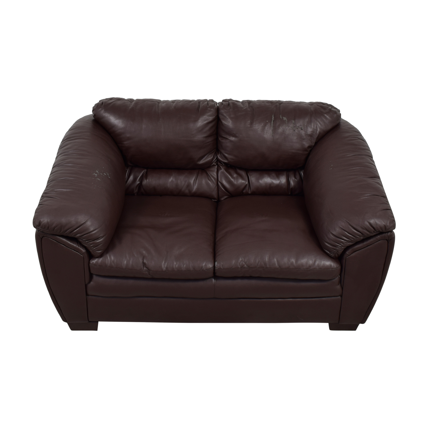 Brown Faux Leather Love Seat dimensions