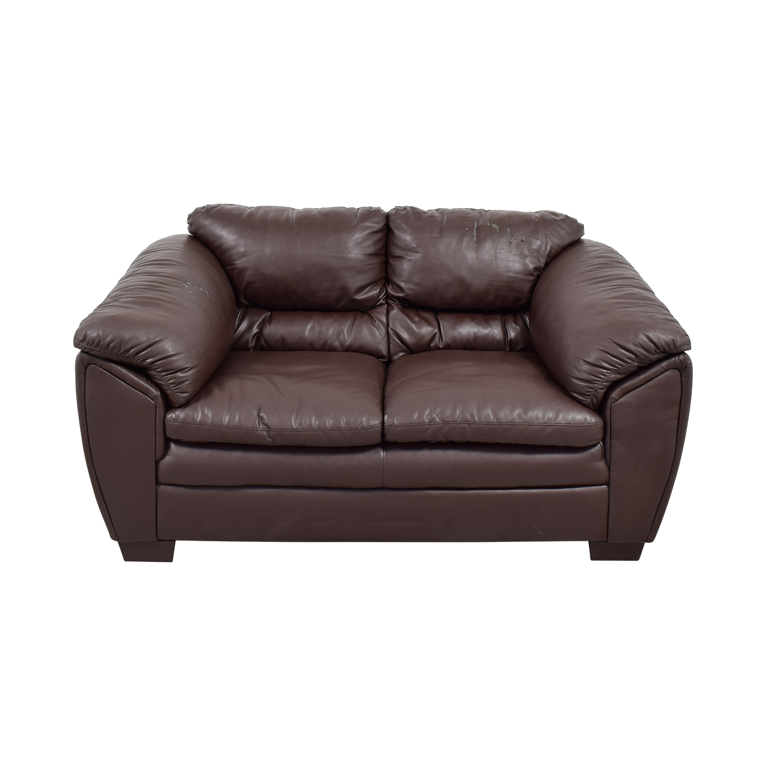 Brown Faux Leather Love Seat for sale