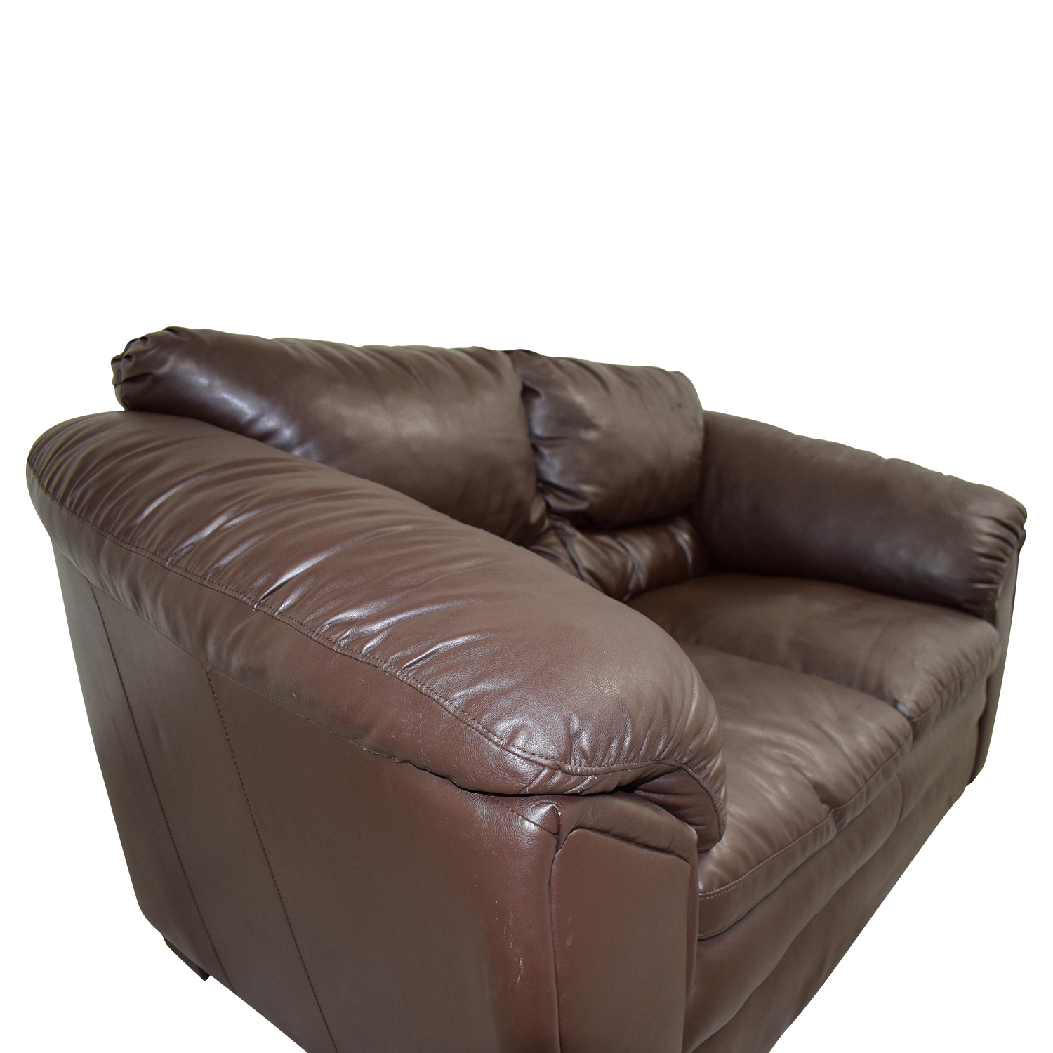 Brown Faux Leather Love Seat discount