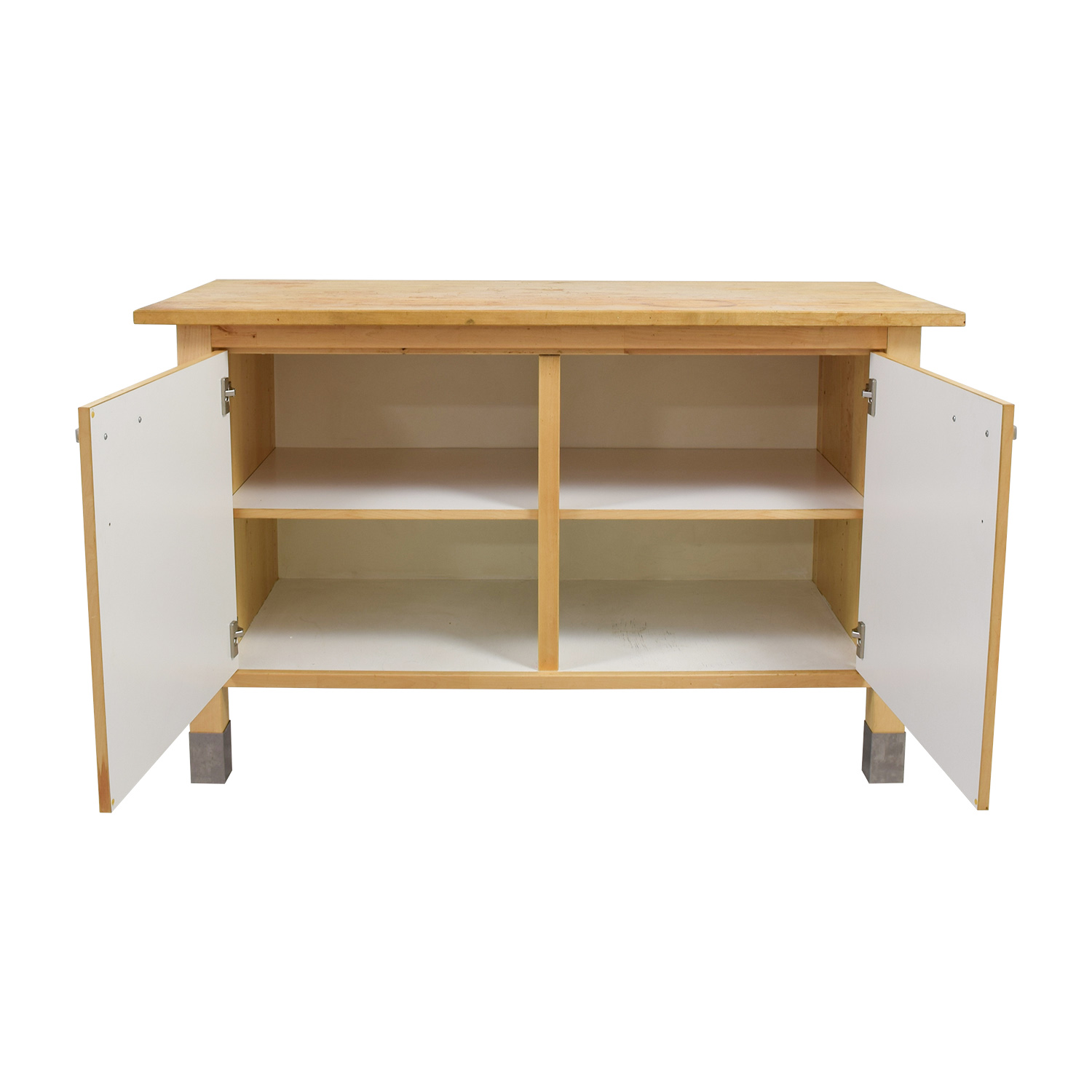 IKEA IKEA Kitchen Butcher Block and White Cabinet discount