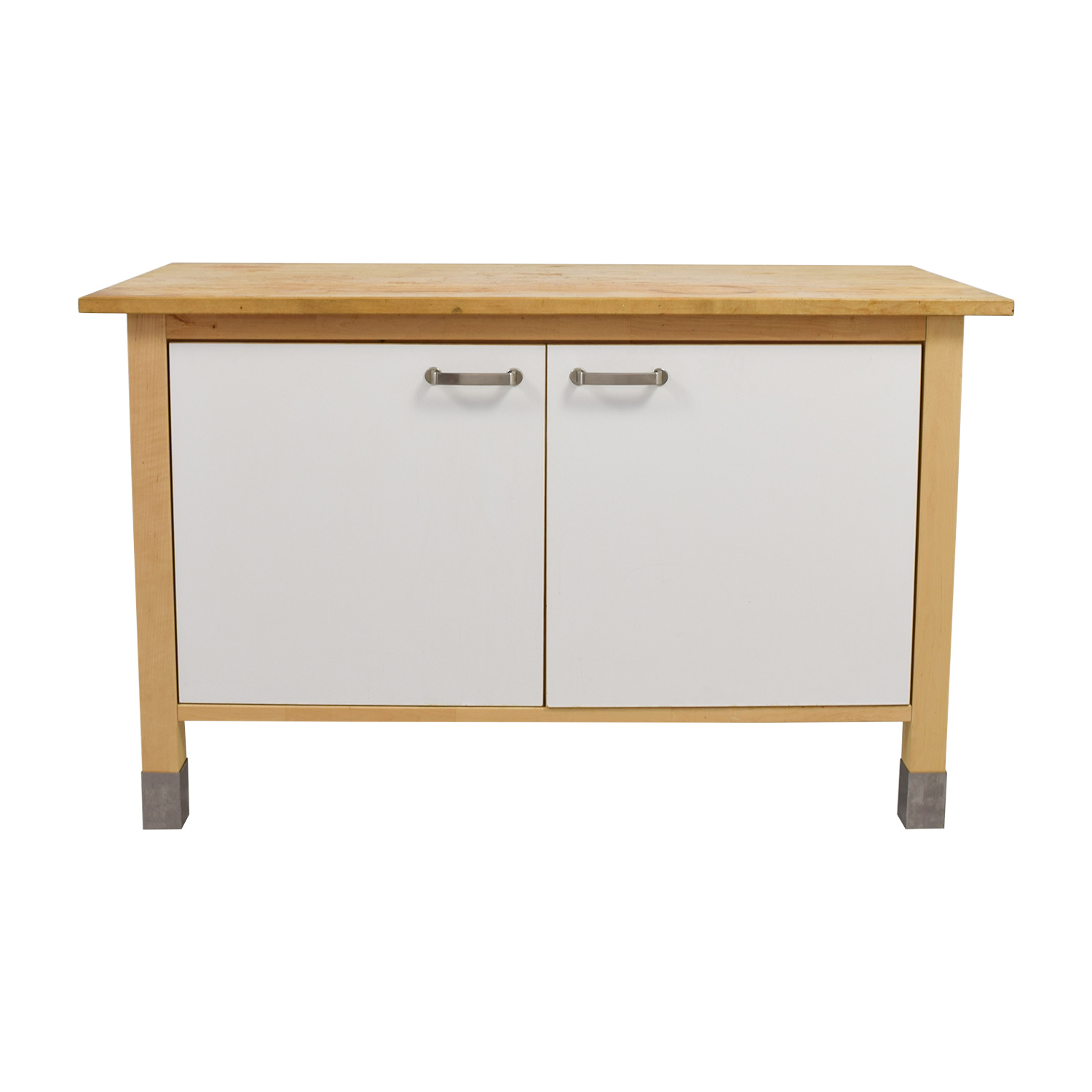 White Butcher Block Kitchen Table : 90% OFF - IKEA IKEA Kitchen Butcher Block and White Cabinet / Tables