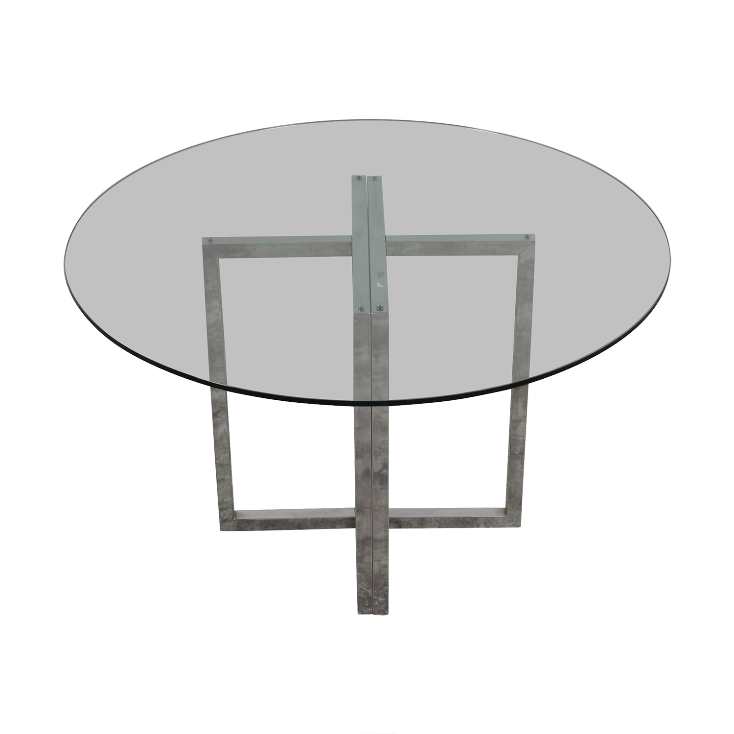 Round Glass and Chrome Dining Table Tables