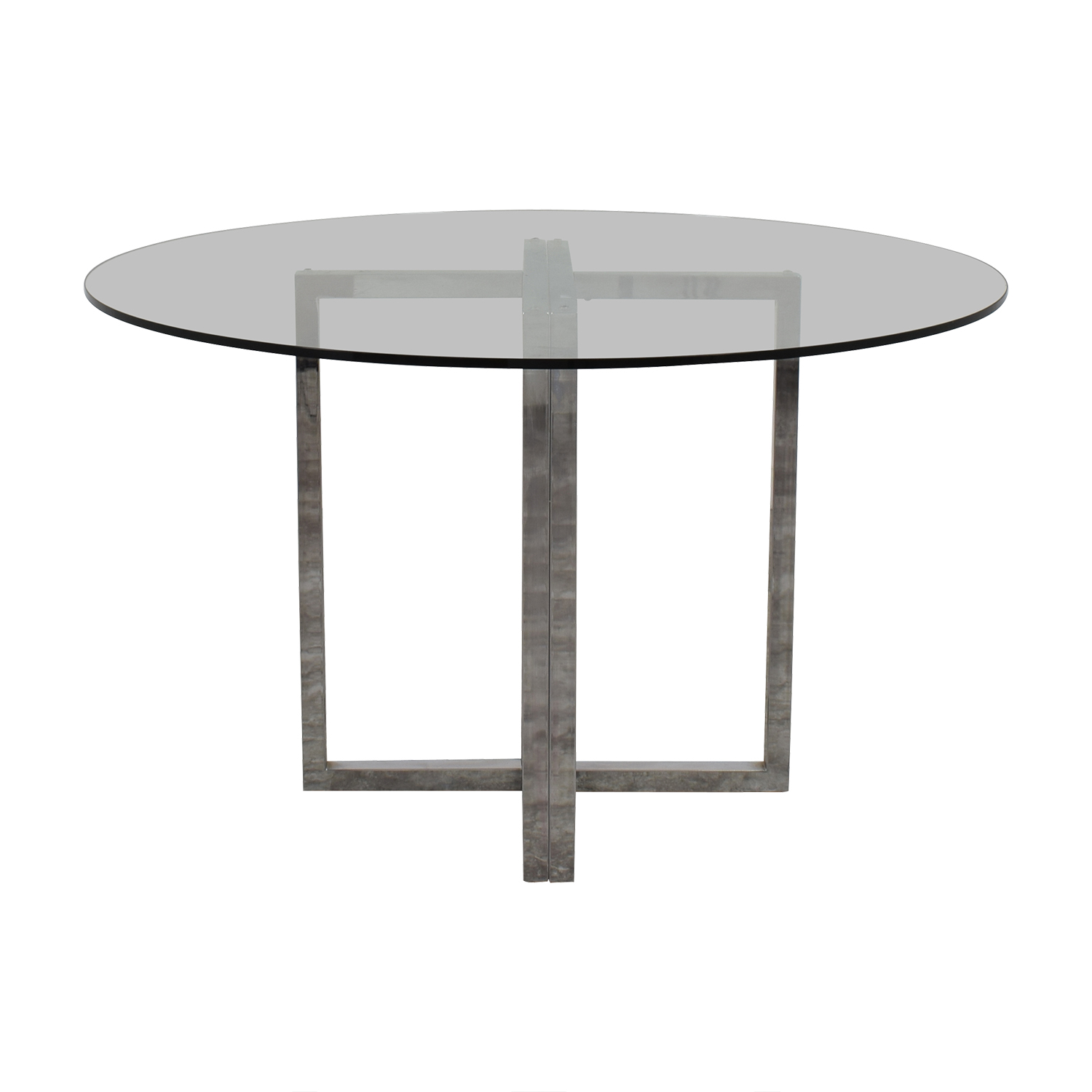 Round Glass and Chrome Dining Table nyc