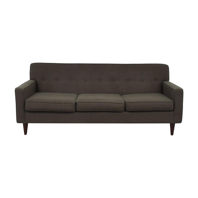 Max Home Max Home Mid Century Brown Three Cushion Sofa discount