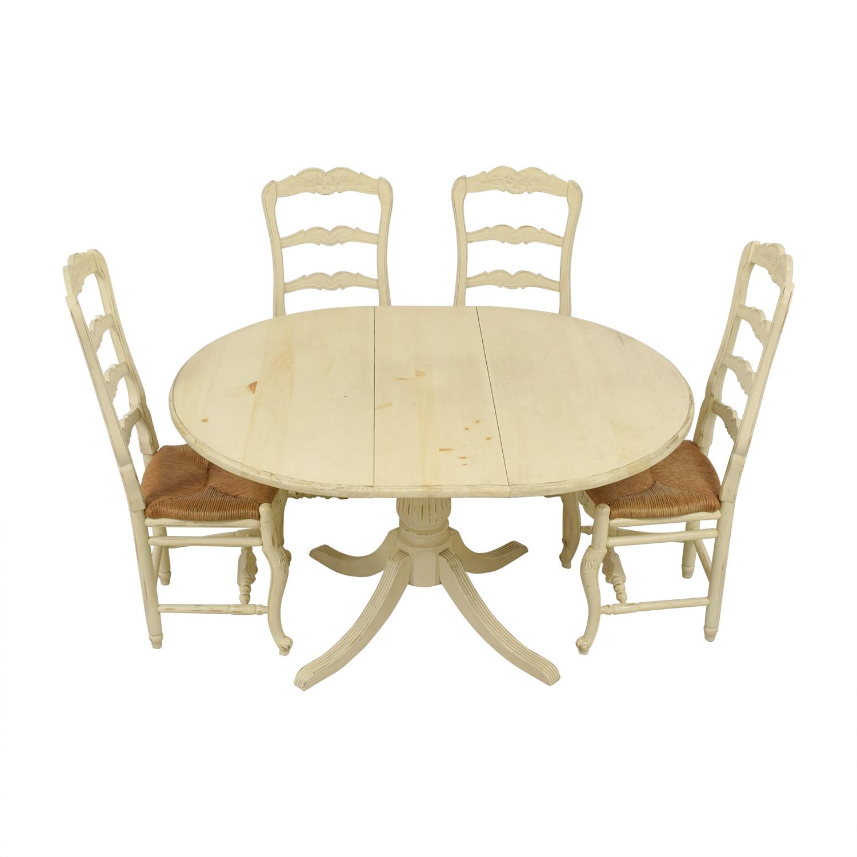 Habersham Habersham White Bone Round Dining Set with Leaf Extention