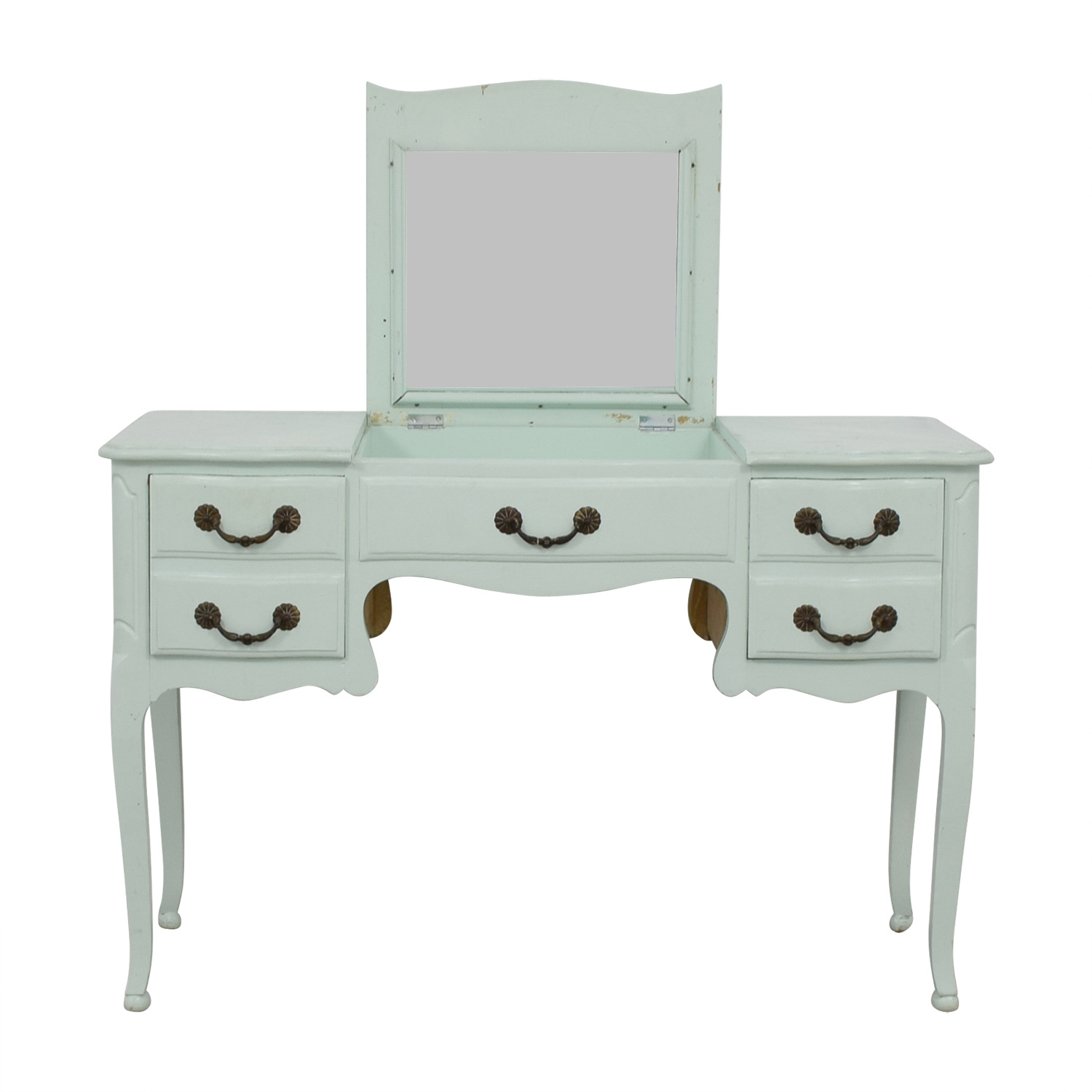 shop Davis Cabinet Company Aqua Desk or Vanity with Mirror Davis Cabinet Company Home Office Desks