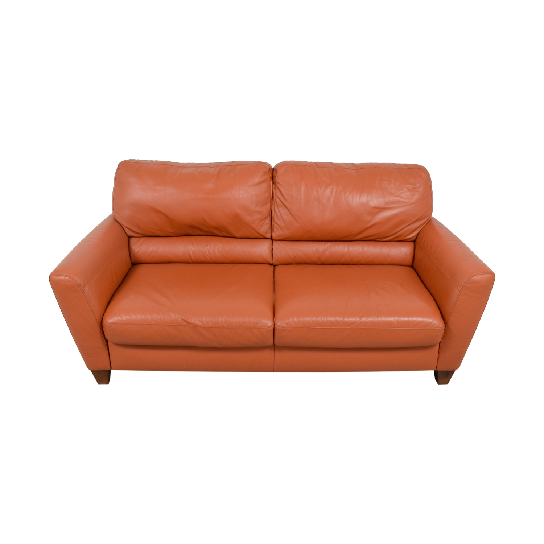 Natuzzi Amalfi Burnt Orange Leather Sofa sale