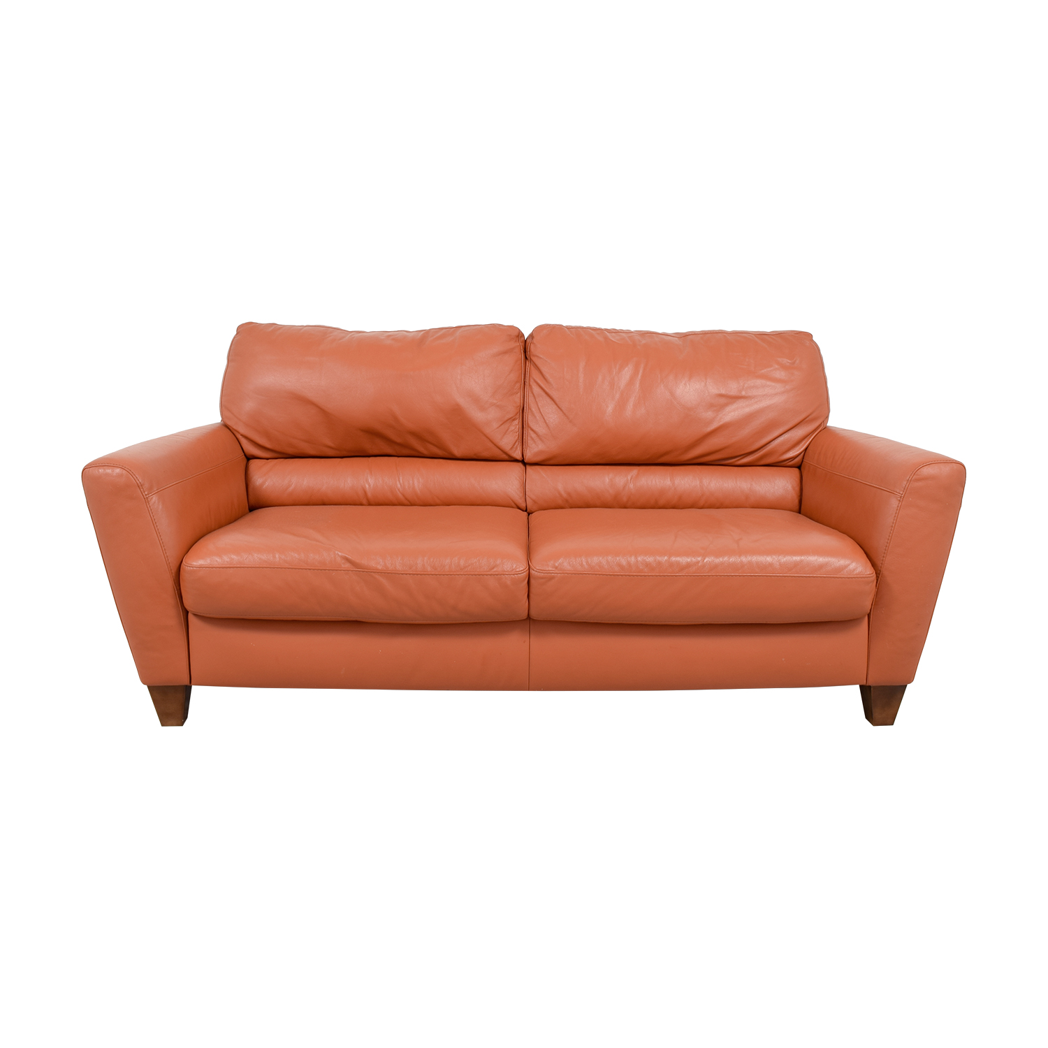Natuzzi Natuzzi Amalfi Burnt Orange Leather Sofa Used
