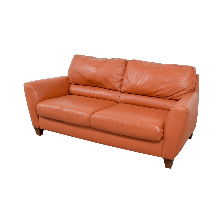 76% OFF - Natuzzi Natuzzi Amalfi Burnt Orange Leather Sofa / Sofas
