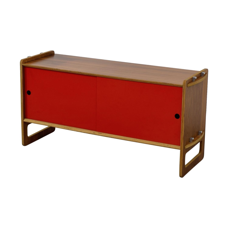 shop Wood and Red Sliding Door Cabinet  Storage