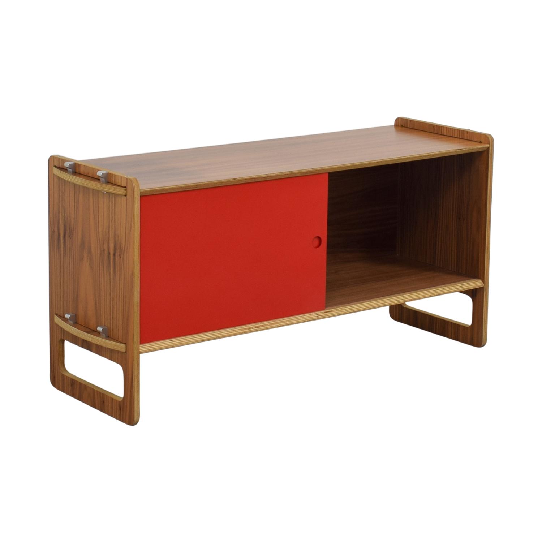 shop  Wood and Red Sliding Door Cabinet online