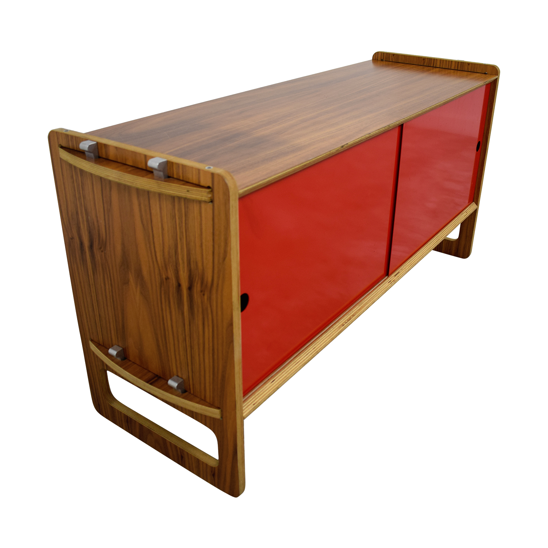 Wood and Red Sliding Door Cabinet / Storage