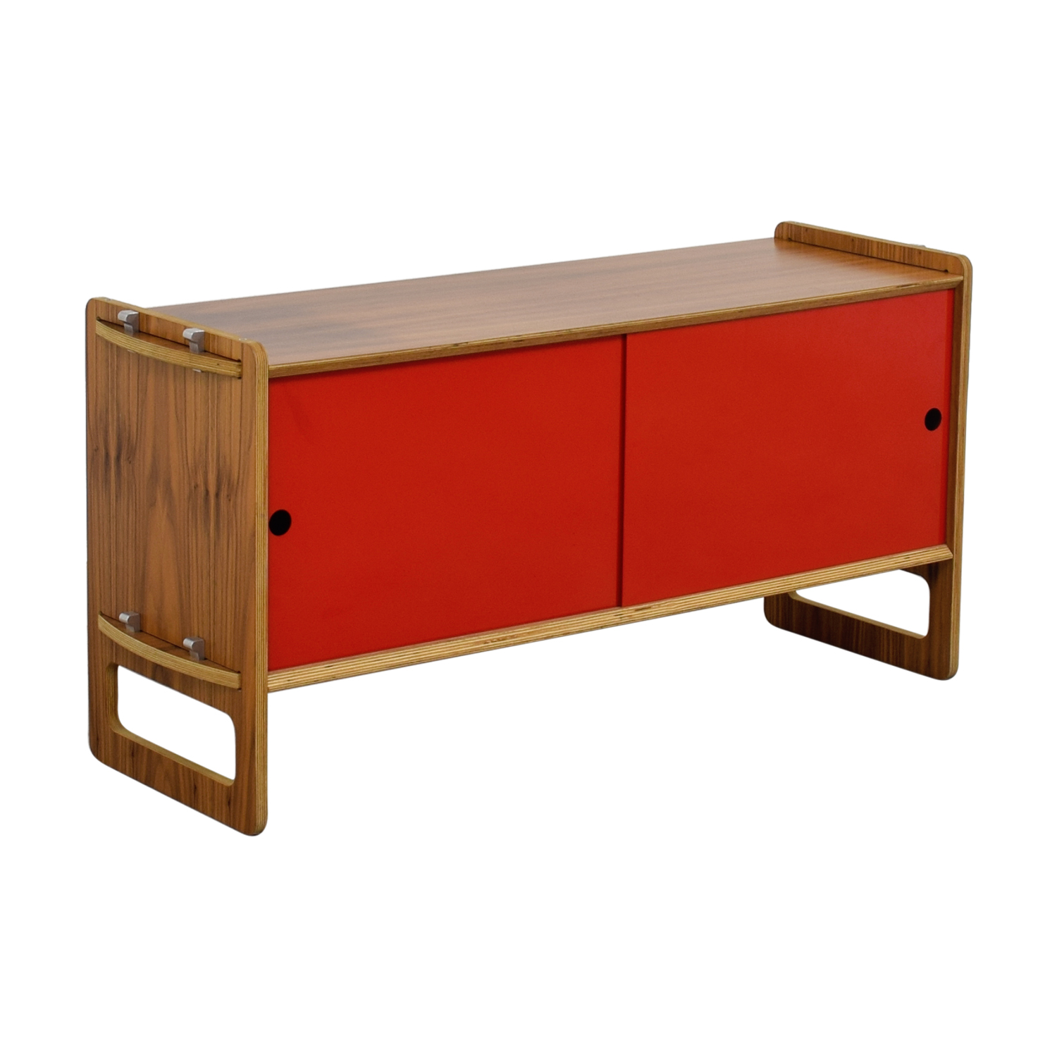 Wood and Red Sliding Door Cabinet price
