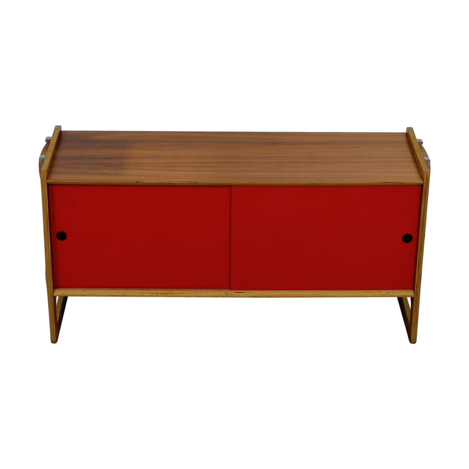 Wood and Red Sliding Door Cabinet for sale