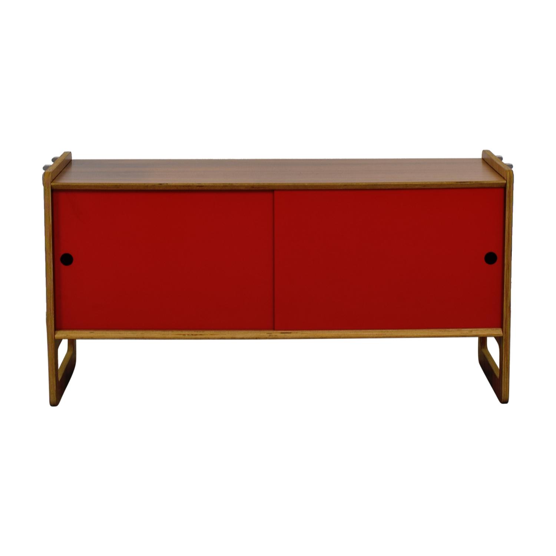 buy  Wood and Red Sliding Door Cabinet online
