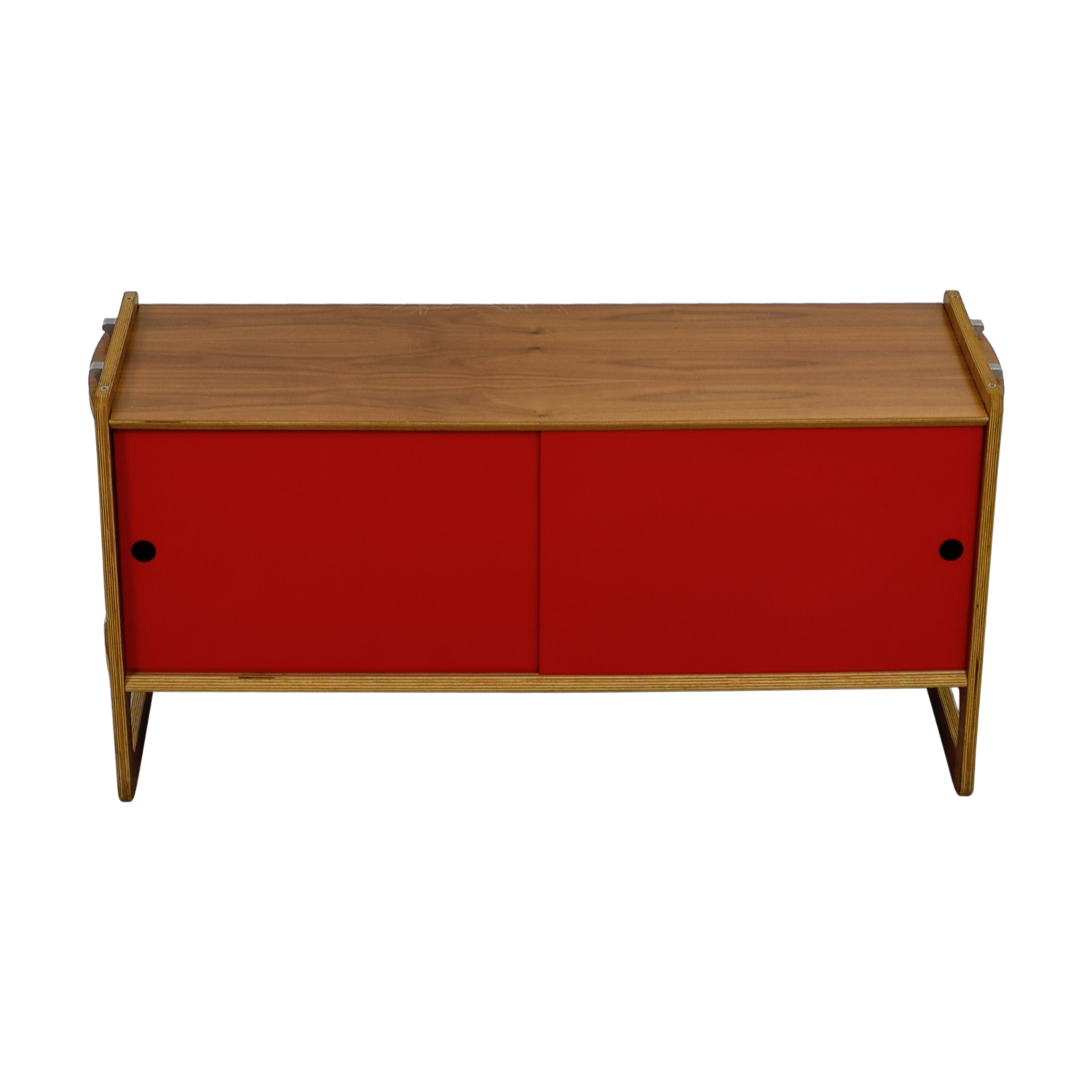 Wood and Red Sliding Door Cabinet on sale