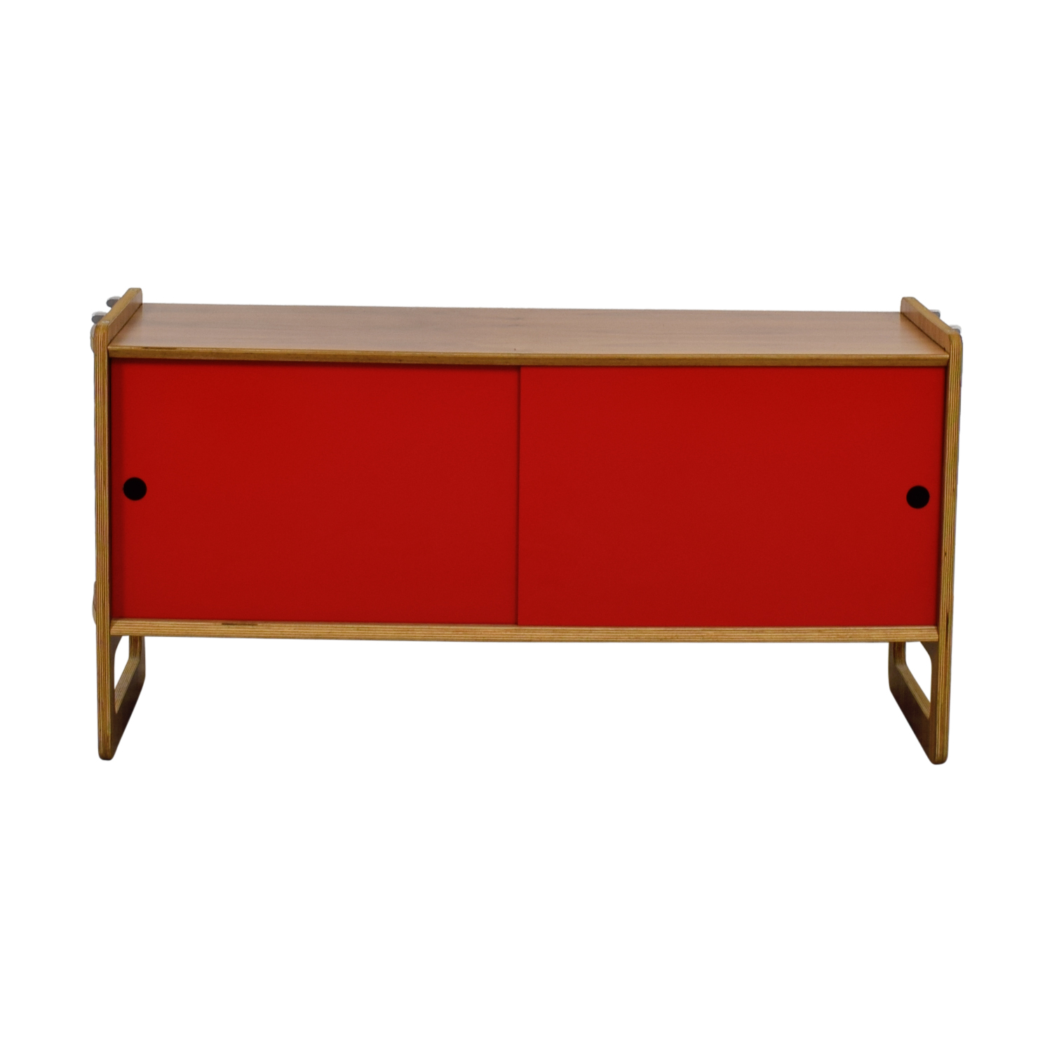 Wood and Red Sliding Door Cabinet Cabinets & Sideboards