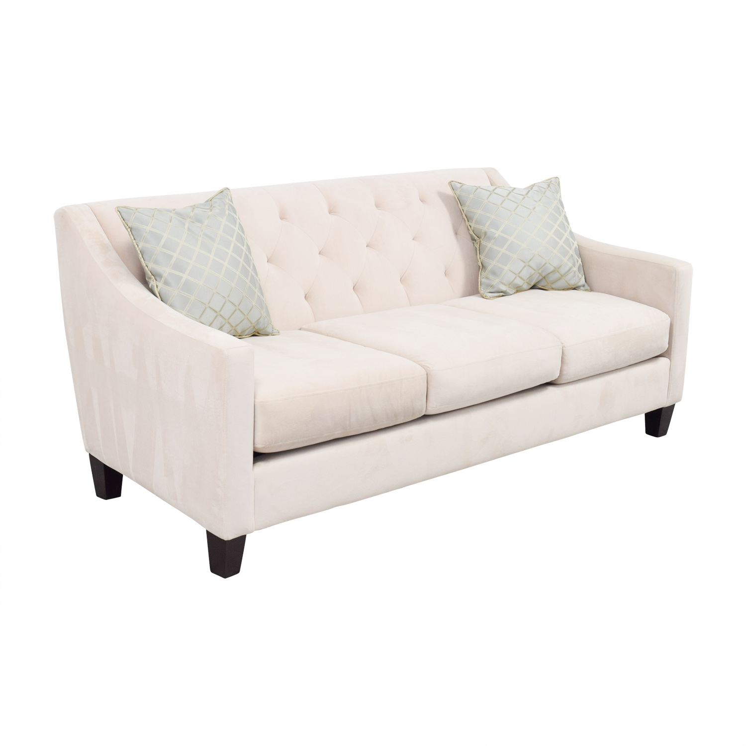 30 off max home max home beige semi tufted three for Semi classic sofa