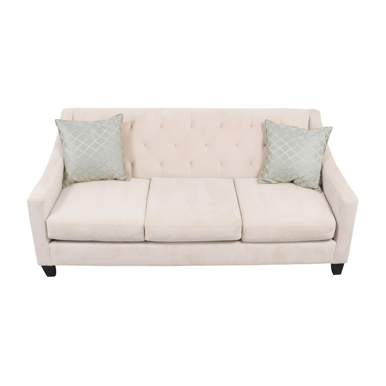 Max Home Max Home Beige Semi-Tufted Three-Cushion Couch dimensions