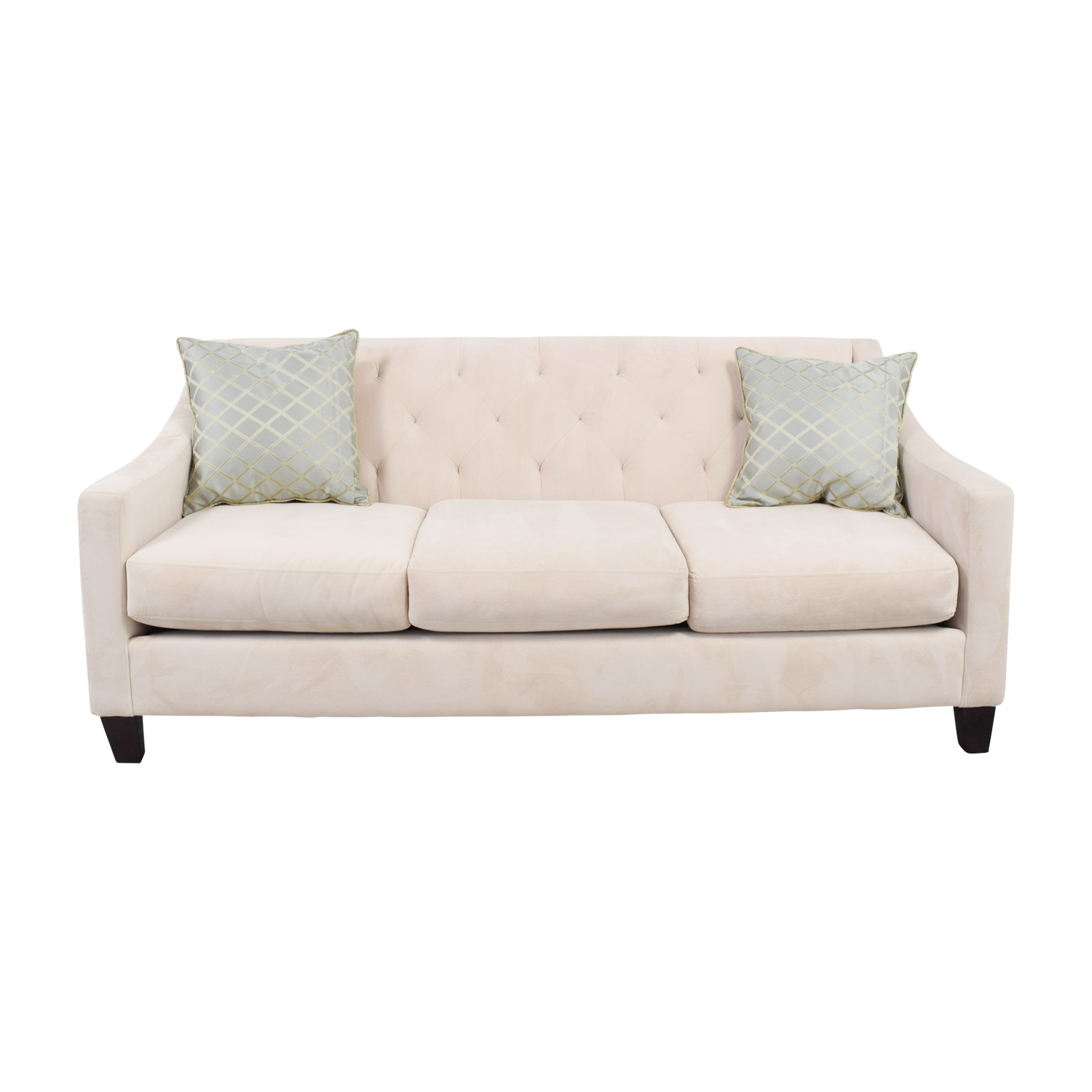 shop Max Home Beige Semi-Tufted Three-Cushion Couch Max Home