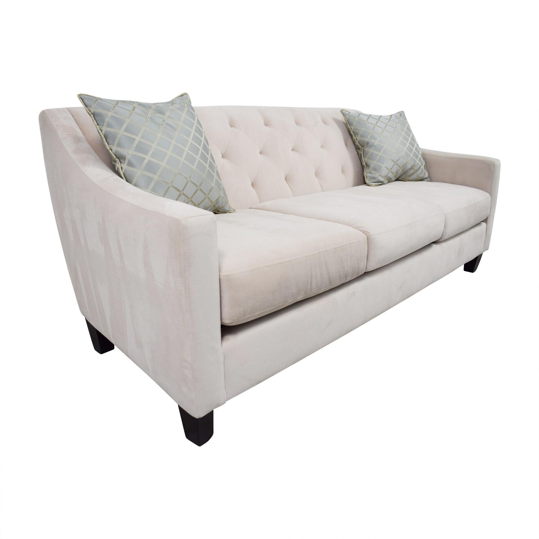 Max Home Beige Semi-Tufted Three-Cushion Couch sale