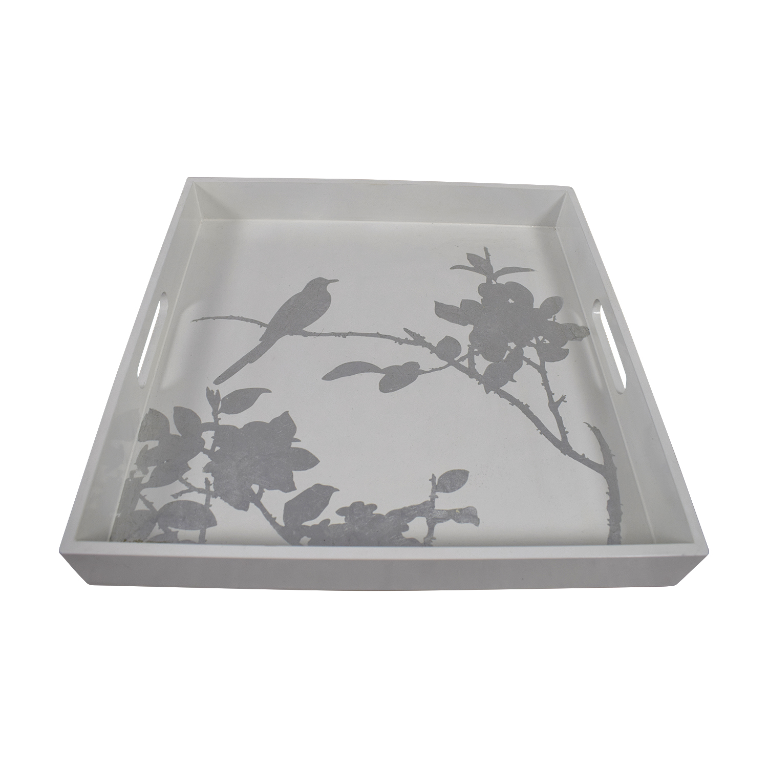 shop West Elm White Lacquered Tray with Silver Floral Bird Design West Elm Sofas