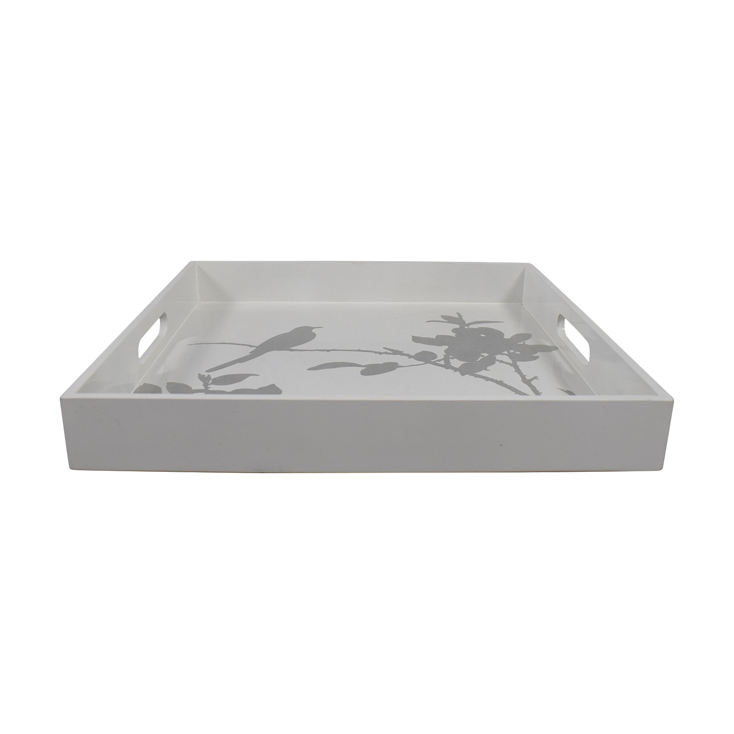 West Elm West Elm White Lacquered Tray with Silver Floral Bird Design used