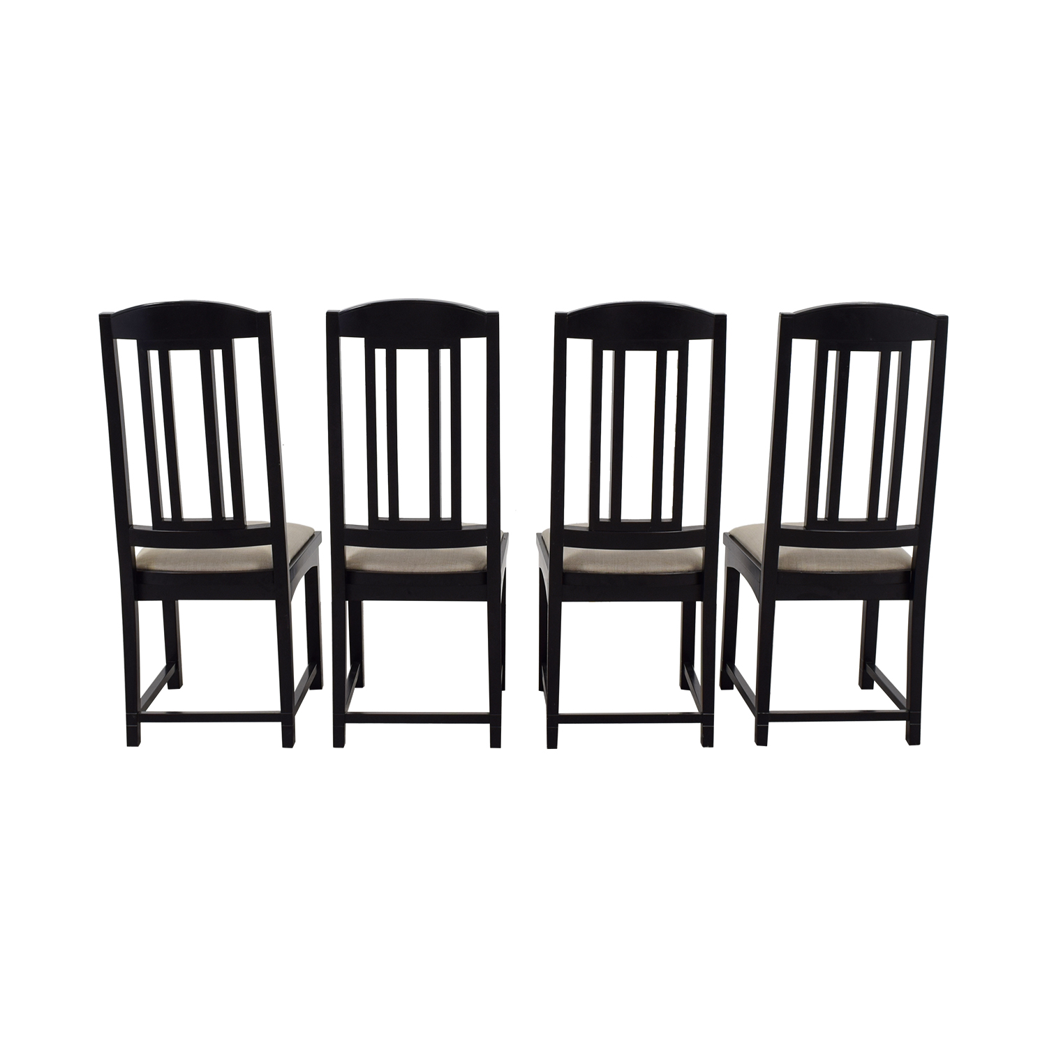 PACE Collection PACE Collection Beige Upholstered and Black Dining Chairs