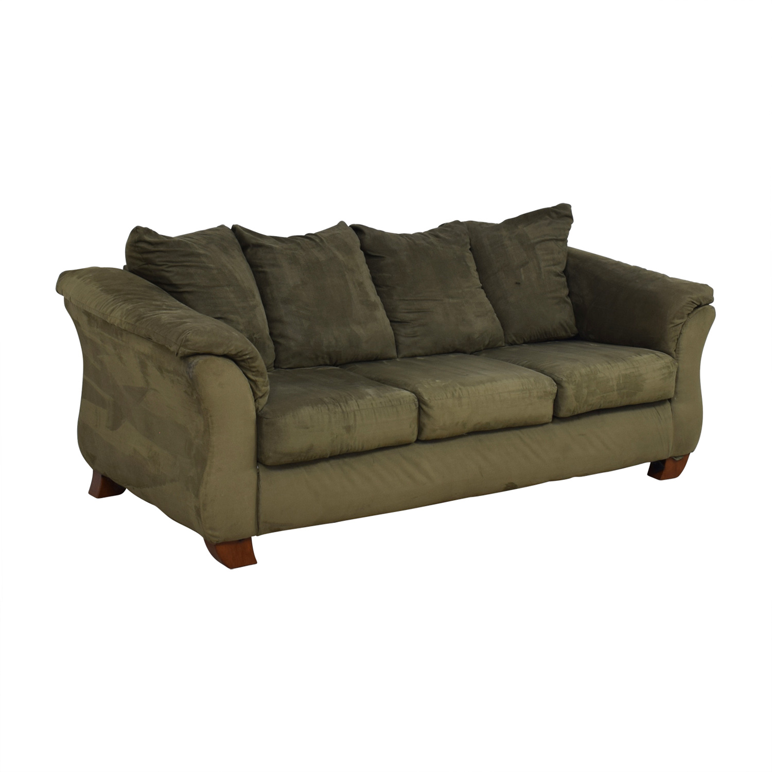 Ashley Furniture Ashley Furniture Forest Green Three-Cushion Couch for sale