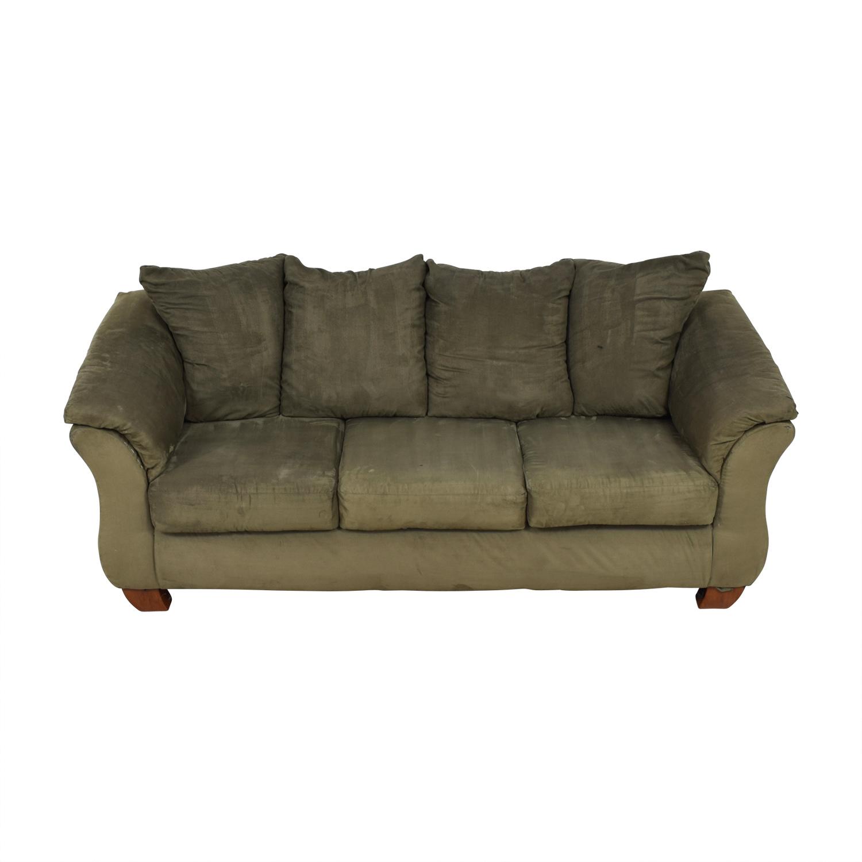 Ashley Furniture Ashley Furniture Forest Green Three-Cushion Couch Classic Sofas