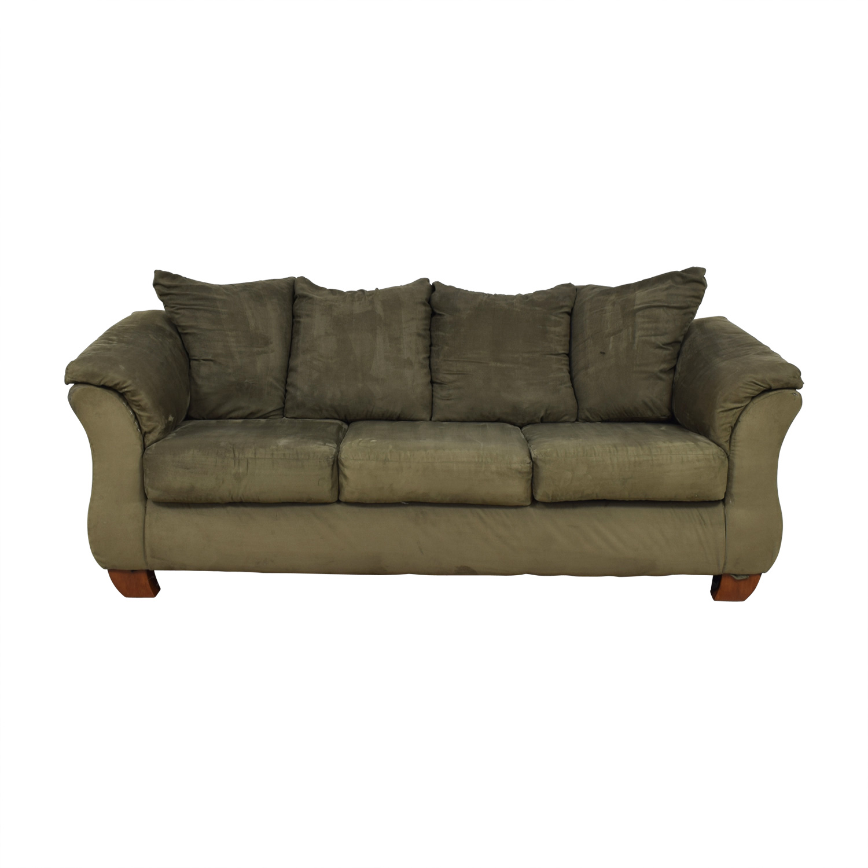 buy Ashley Furniture Forest Green Three-Cushion Couch Ashley Furniture Sofas