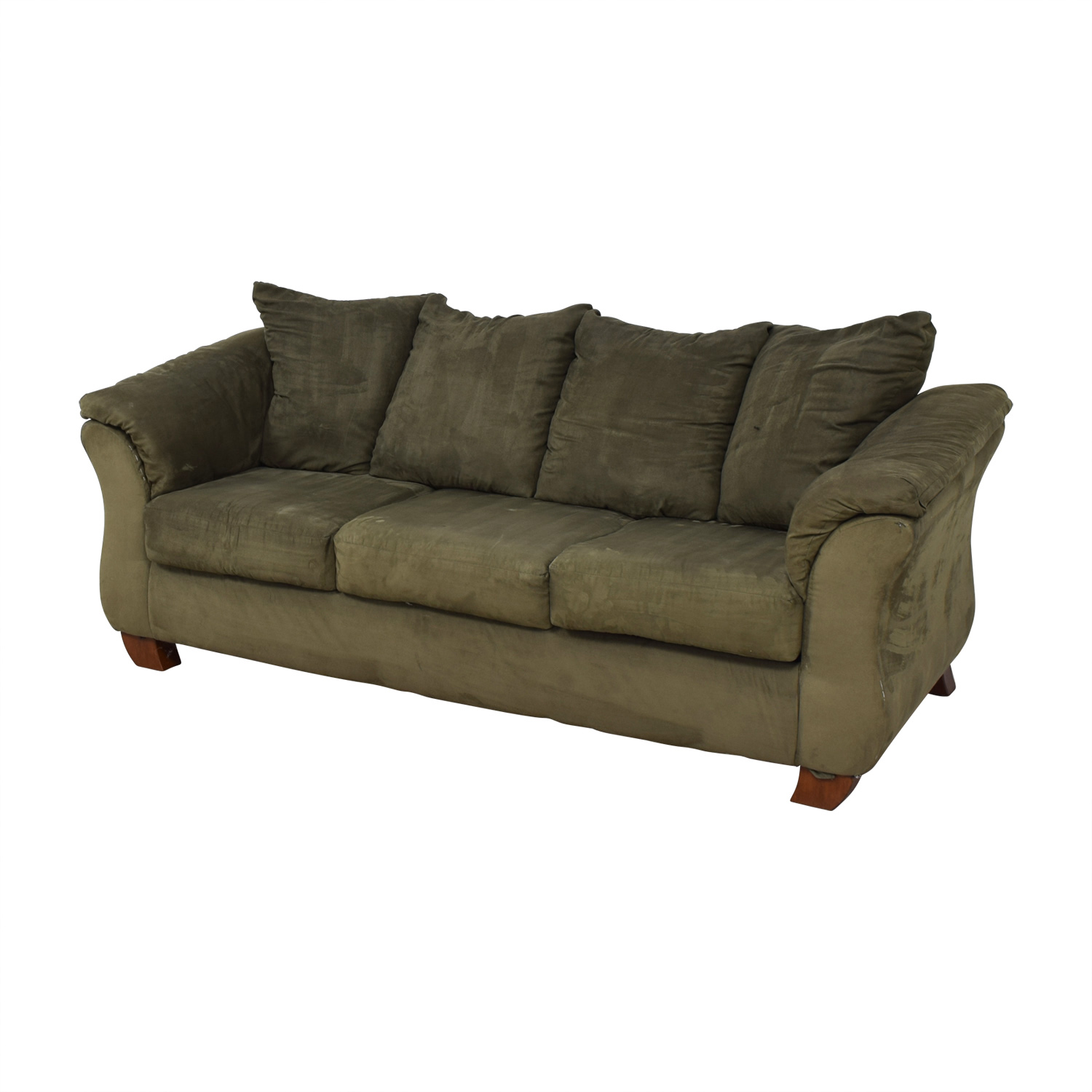Ashley Furniture Forest Green Three-Cushion Couch sale