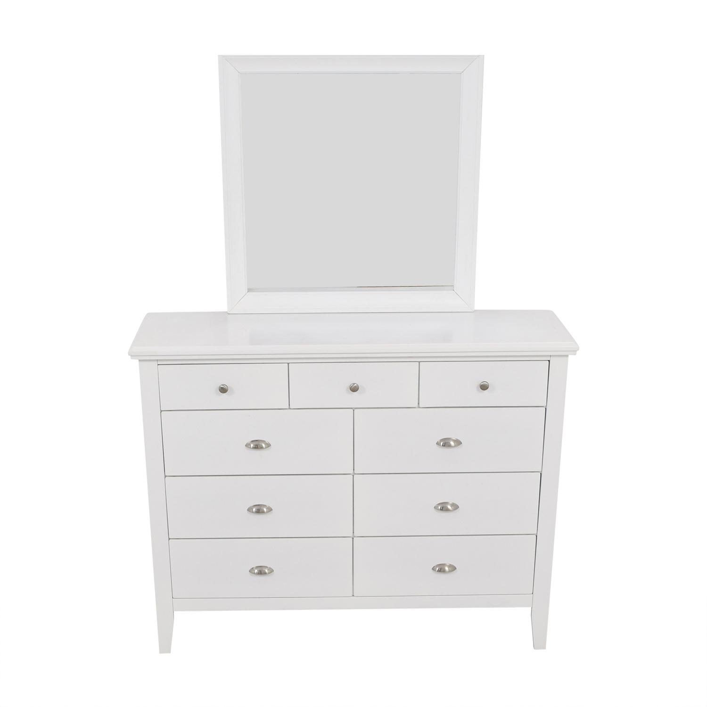 Ashley Furniture White Nine-Drawer Dresser with Mirror / Dressers
