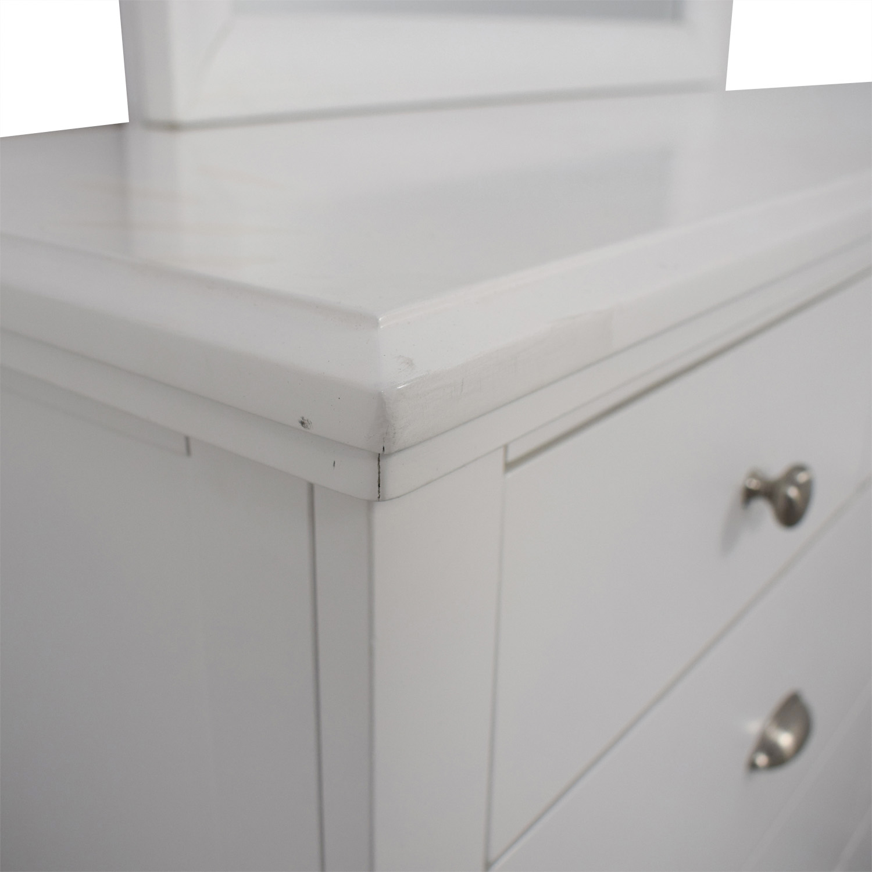 Ashley Furniture Ashley Furniture White Nine-Drawer Dresser with Mirror Storage