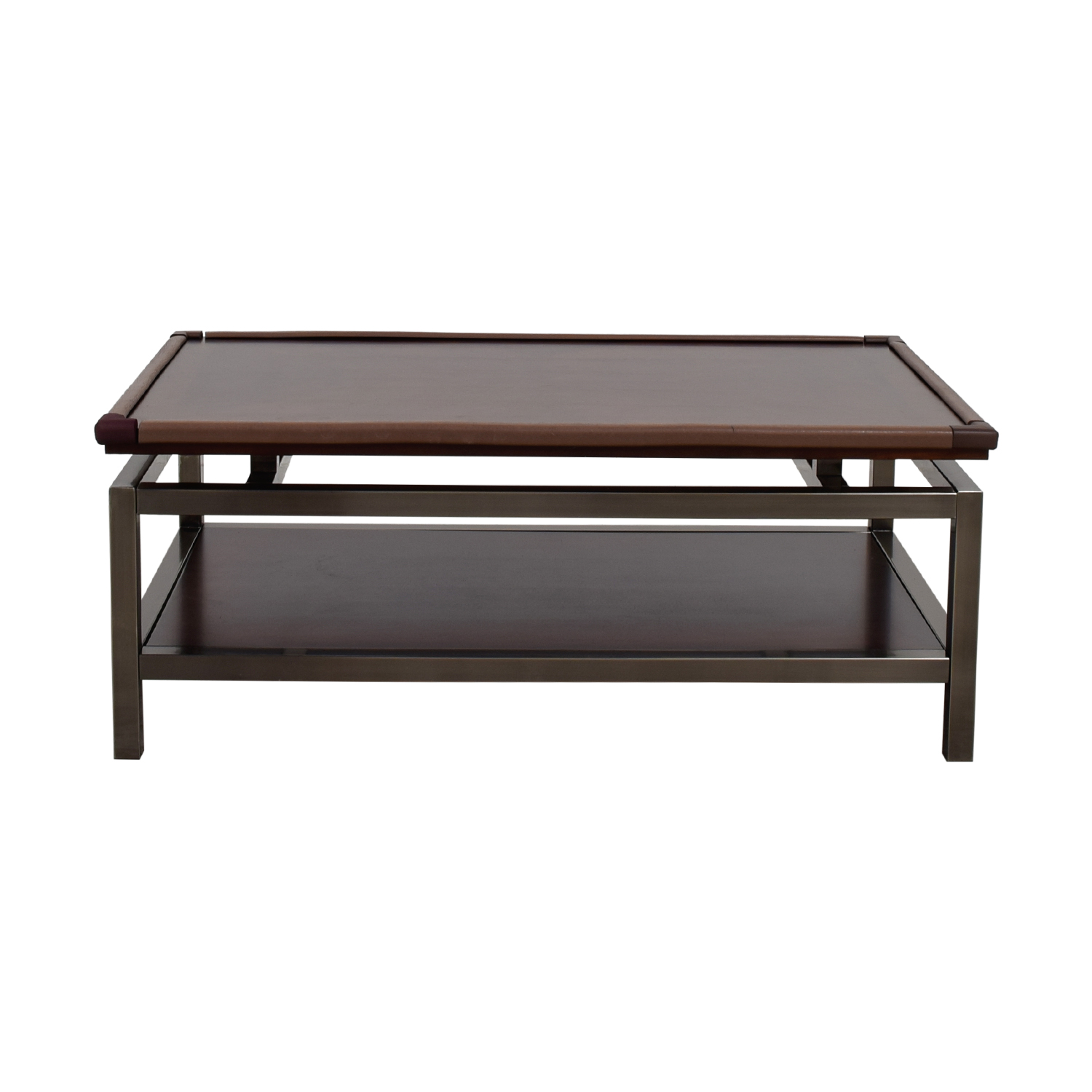 shop Raymour & Flanagan Wood and Chrome Coffee Table Raymour & Flanagan