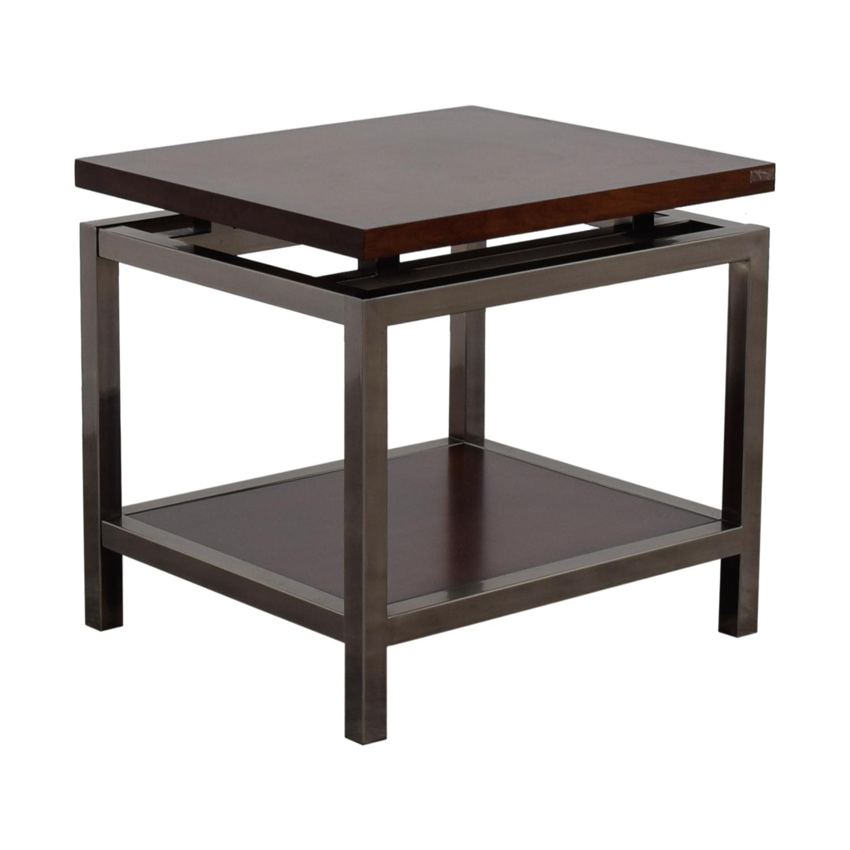 Raymour & Flanagan Wood and Chrome Side table sale