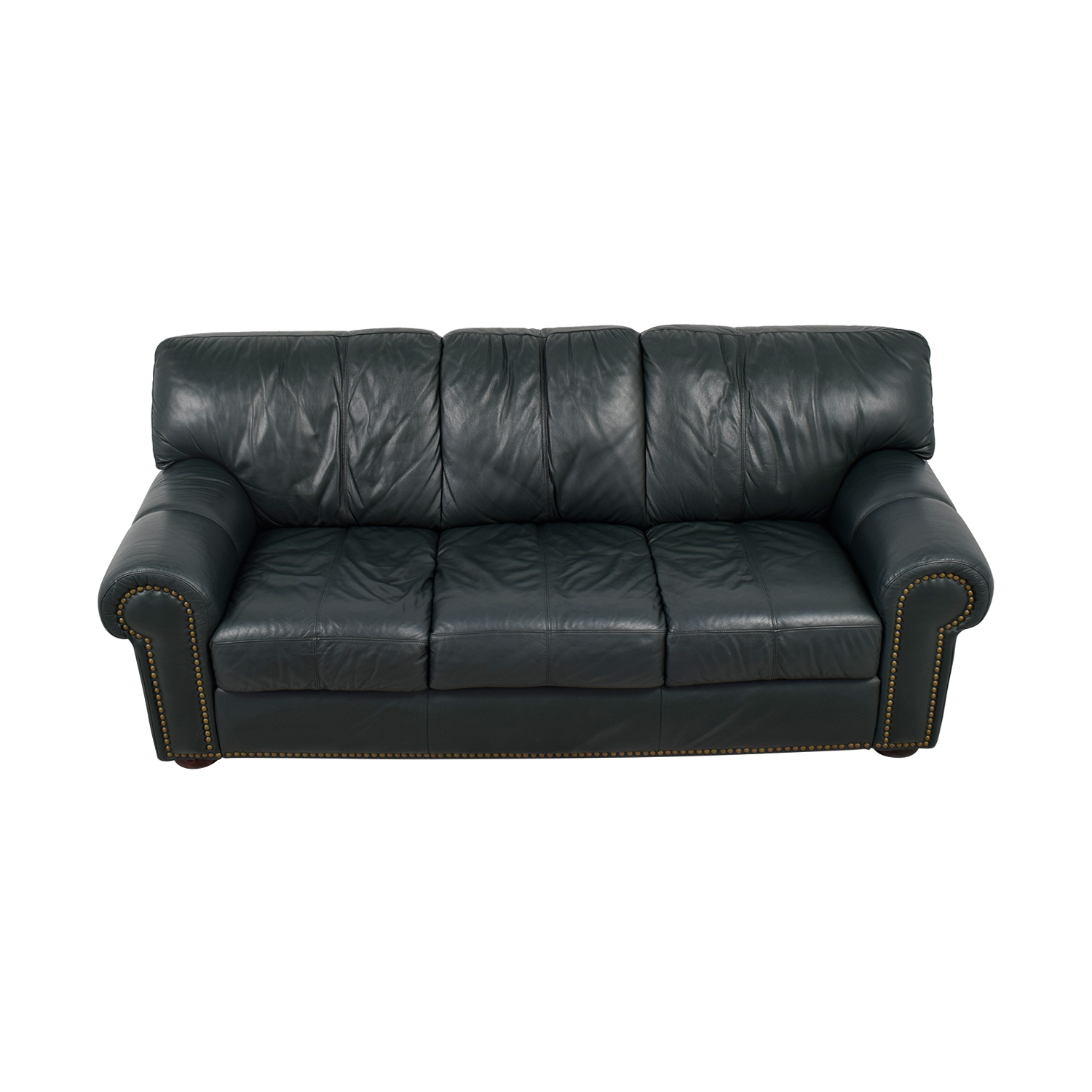 shop Leather Mart Green Leather Nailhead Rollarm Sofa Leather Mart