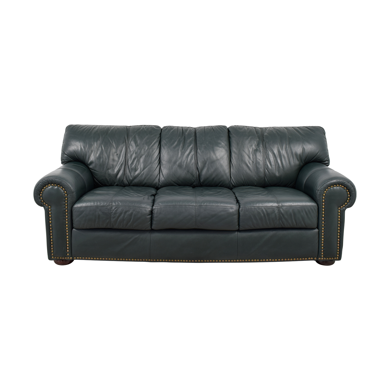 Leather Mart Leather Mart Green Leather Nailhead Rollarm Sofa Classic Sofas