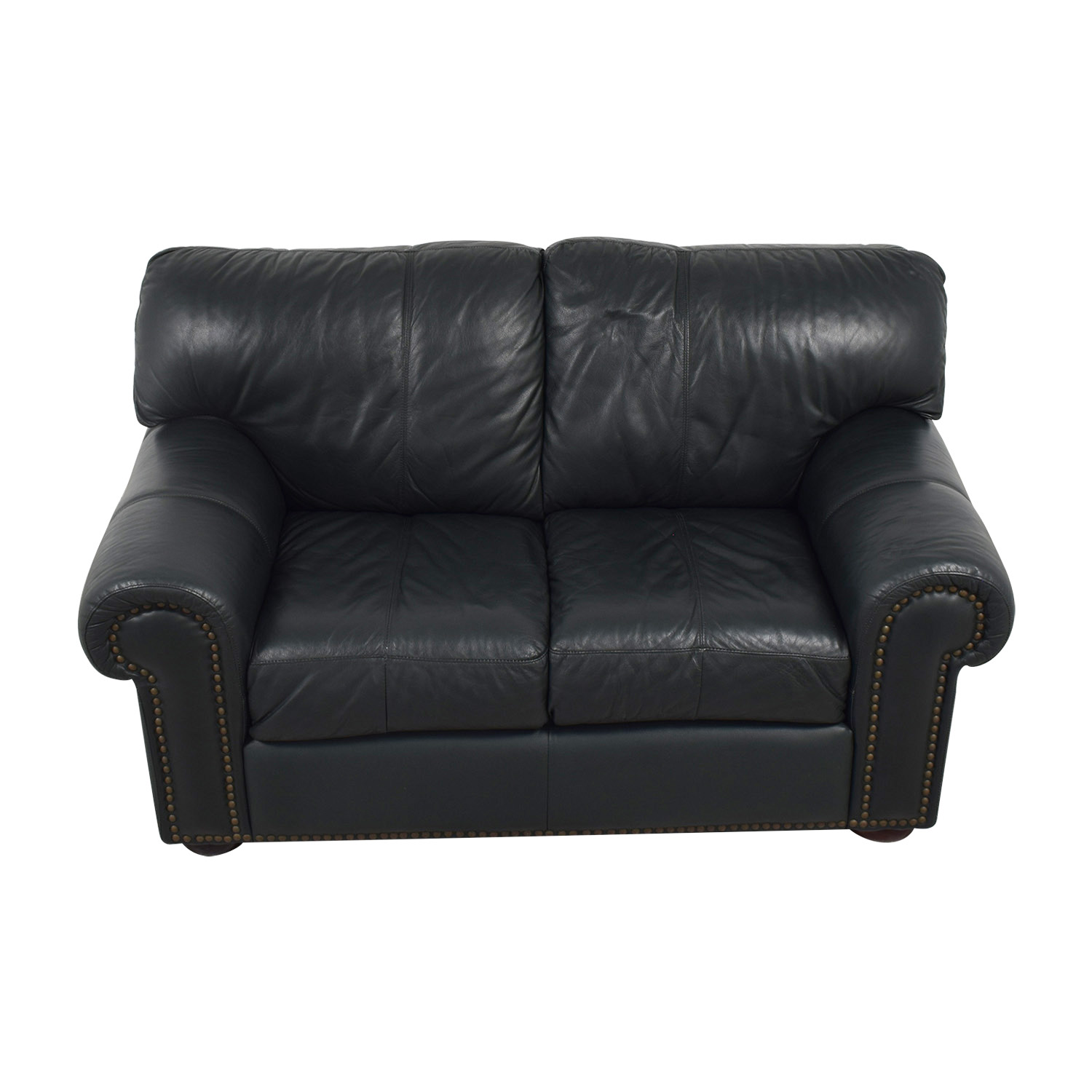 Leather Mart Leather Mart Green Leather Nailhead Loveseat second hand