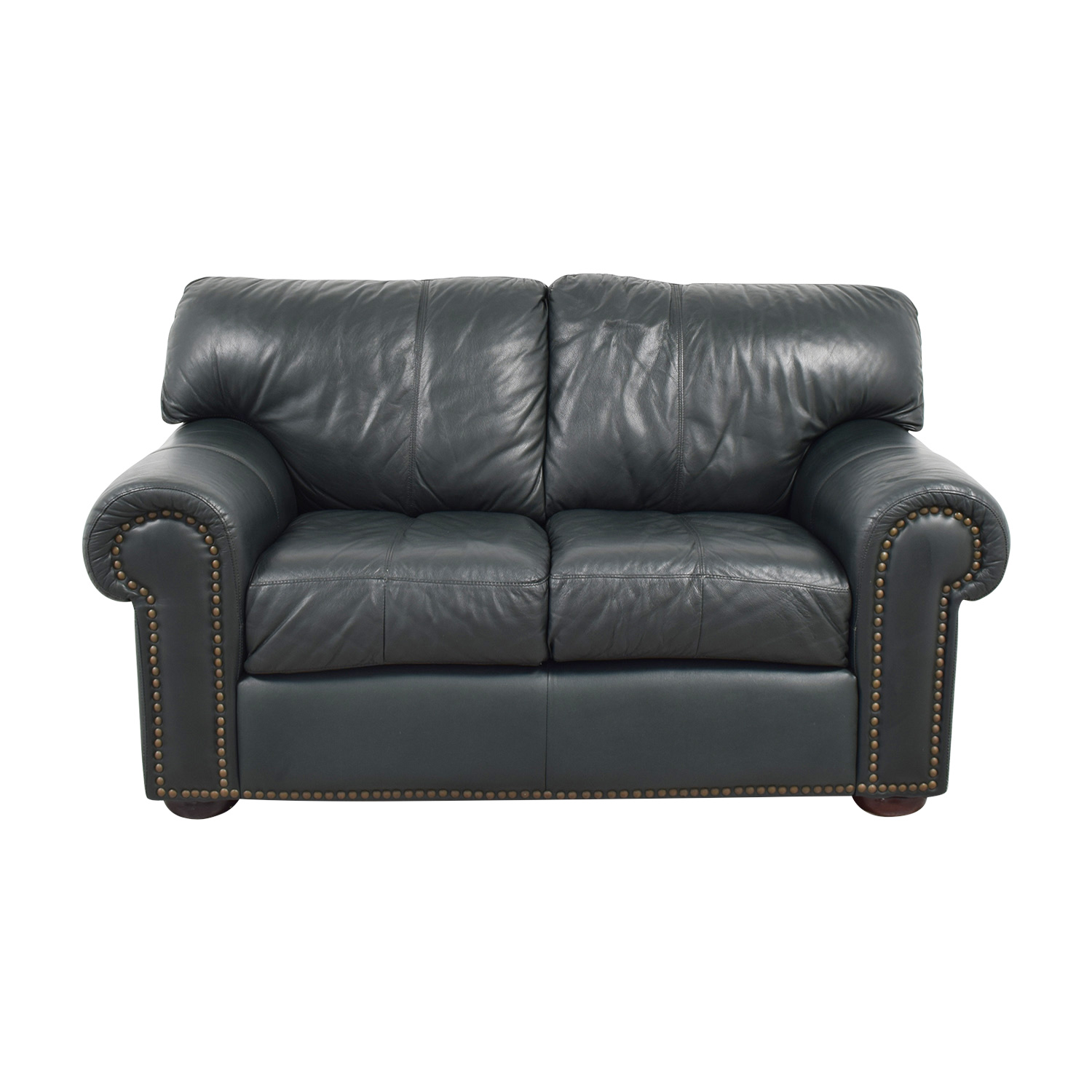 Leather Mart Green Leather Nailhead Loveseat / Sofas