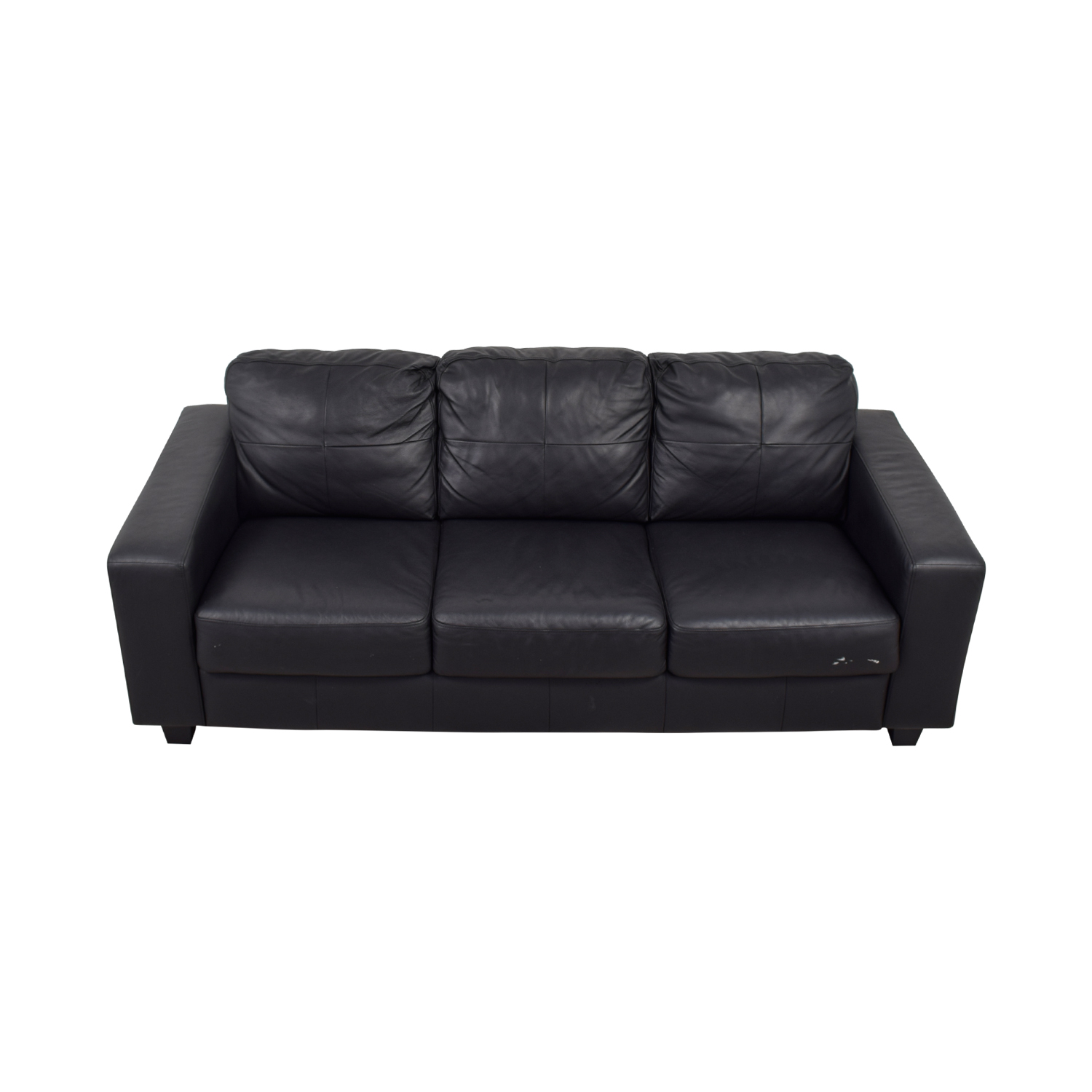 buy IKEA Black Leather Three-Cushion Sofa IKEA