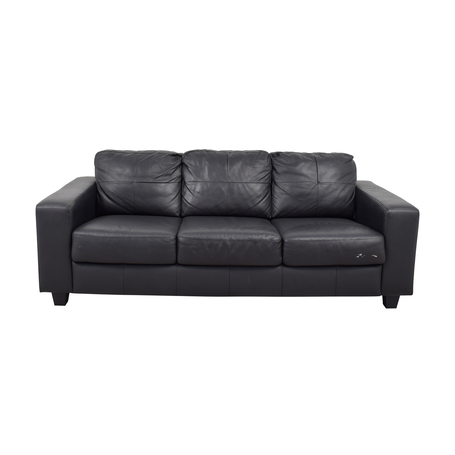 Ikea Ikea Black Leather Three Cushion Sofa For Sale