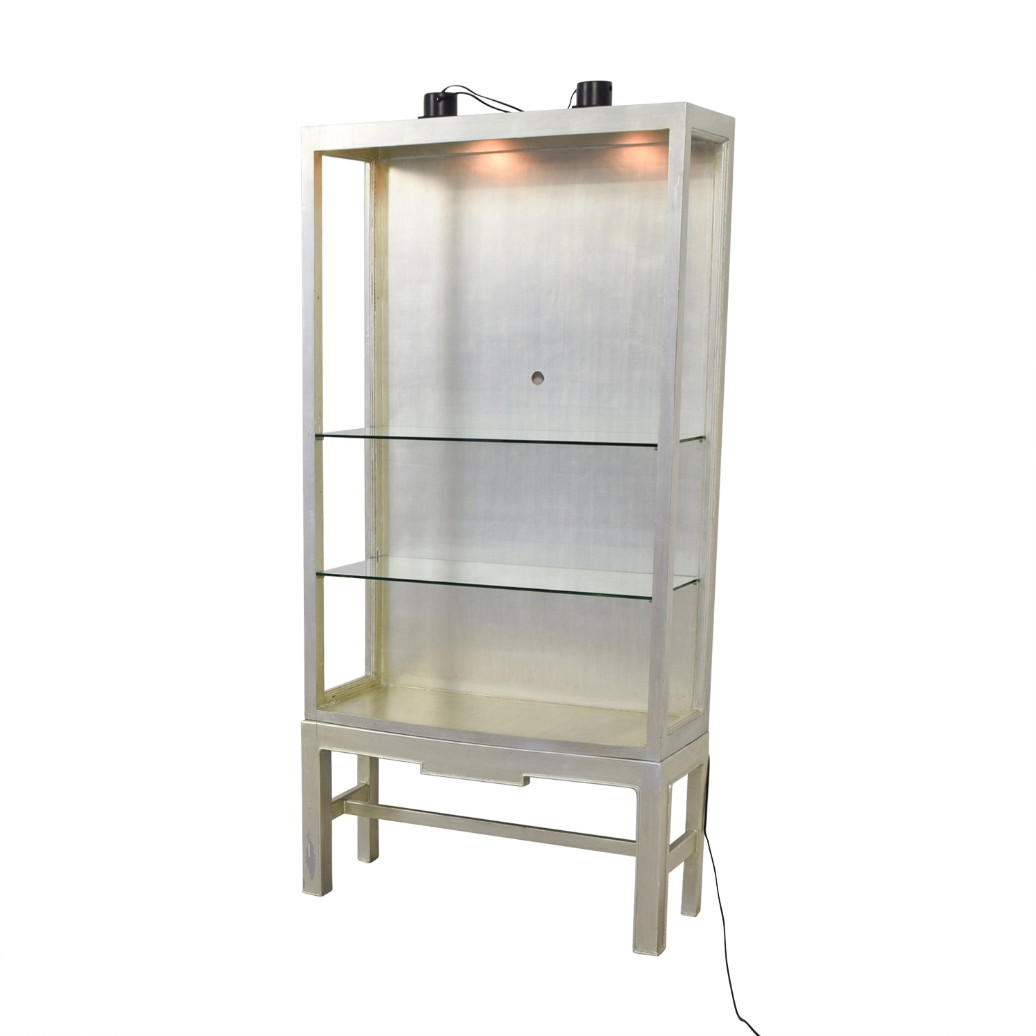Horchow Silver and Glass Shelving Unit with Lights Horchow