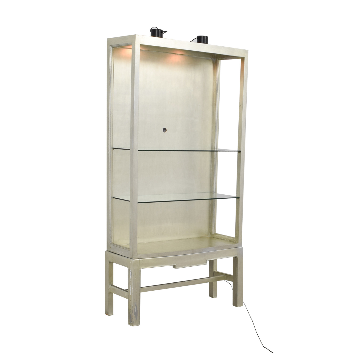 shop Horchow Silver and Glass Shelving Unit with Lights Horchow Storage