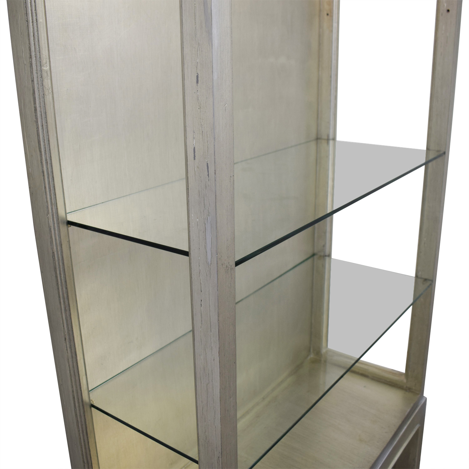 Horchow Silver and Glass Shelving Unit with Lights / Storage