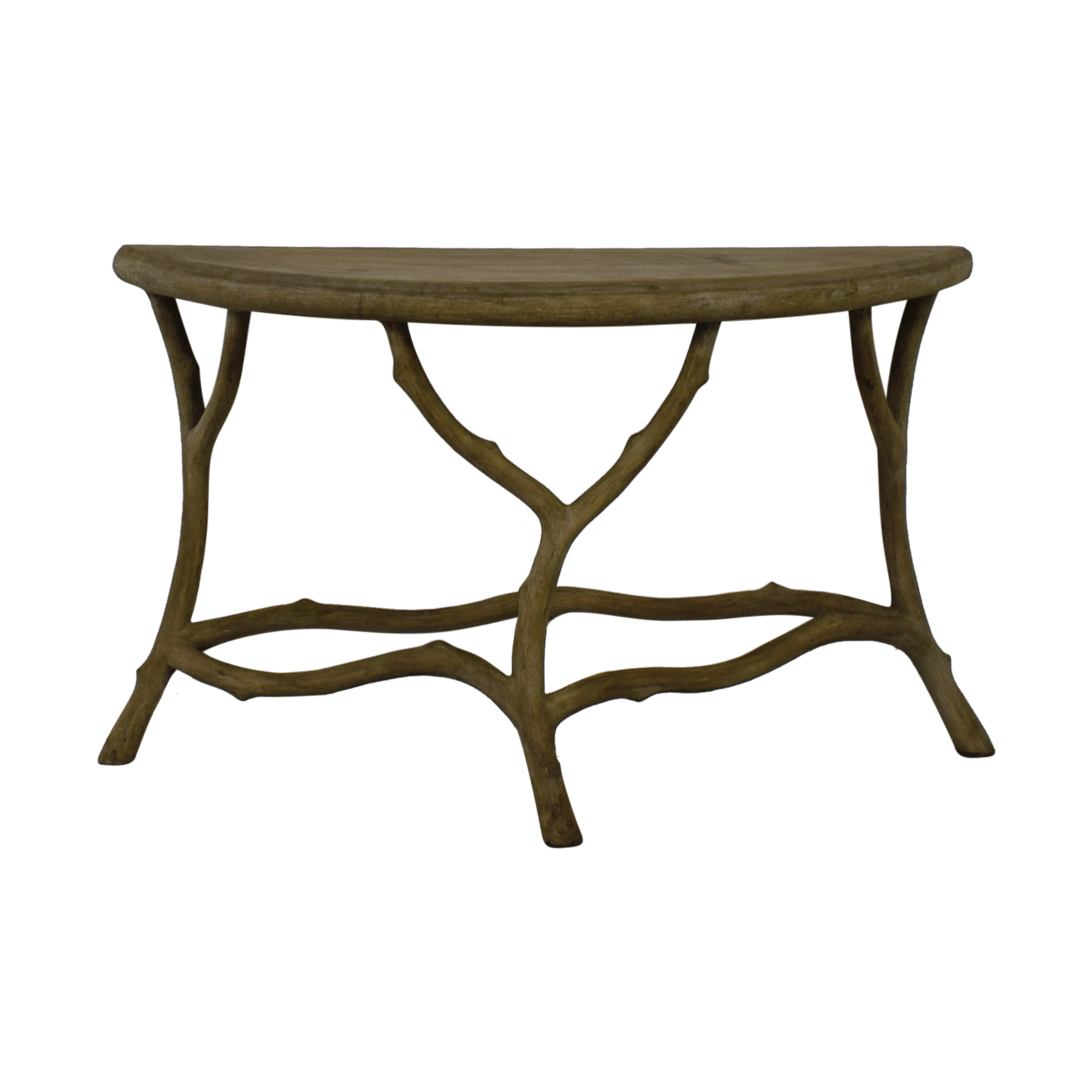 Horchow Horchow Grey Faux Bois Half Table Gray