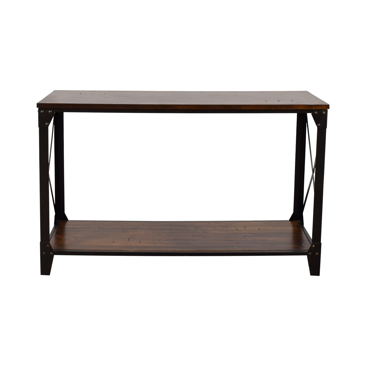 Metal Rustic Wooden Console Discount