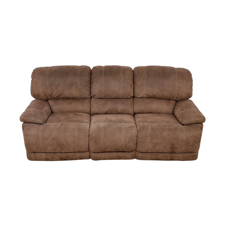 buy Brown Three-Cushion Recliner Sofa
