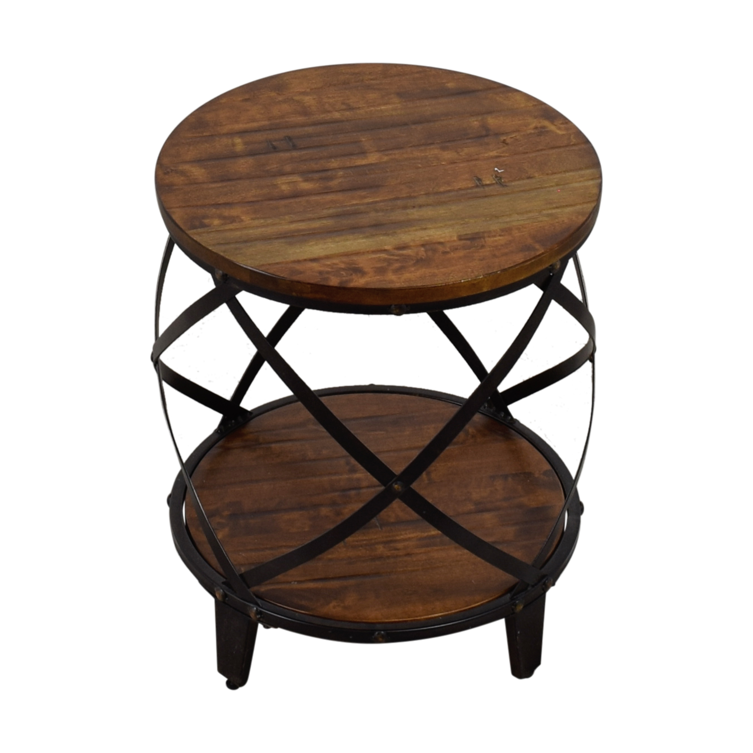 shop Steve Silver Round Wood and Metal End Table Steve Silver End Tables
