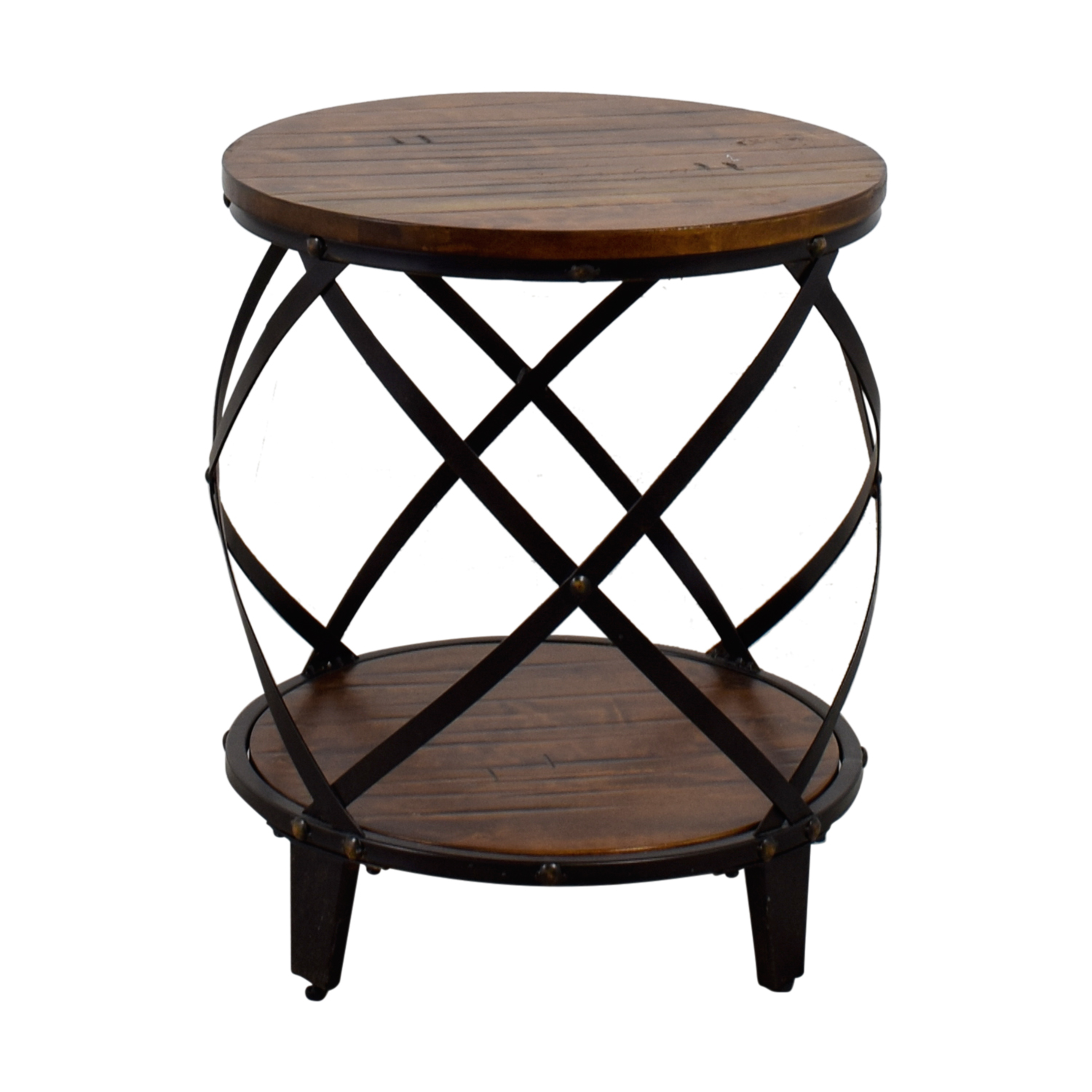 Steve Silver Steve Silver Round Wood And Metal End Table